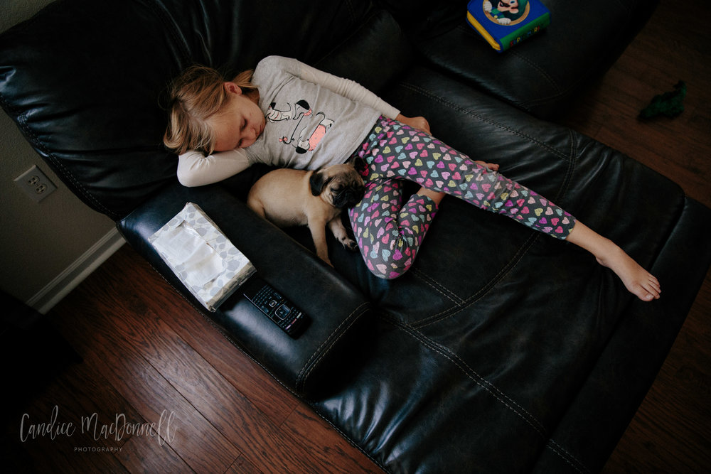 girl with pug puppy sleeping on couch -  www.candicemphoto.com mid missouri family lifestyle photography