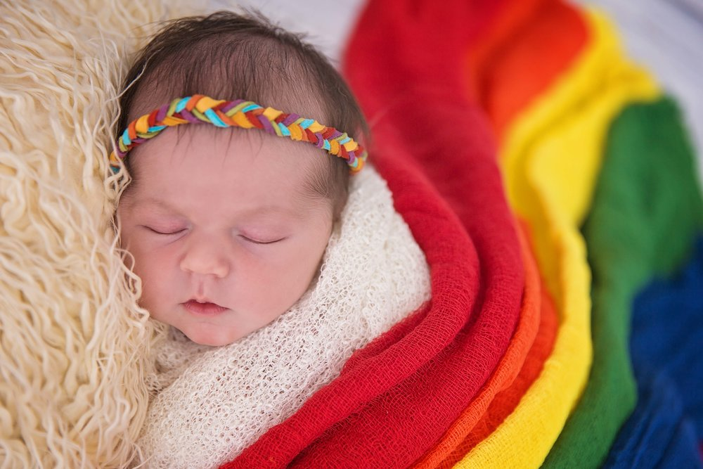 rainbow baby newborn photography fort leoanrd wood missouri