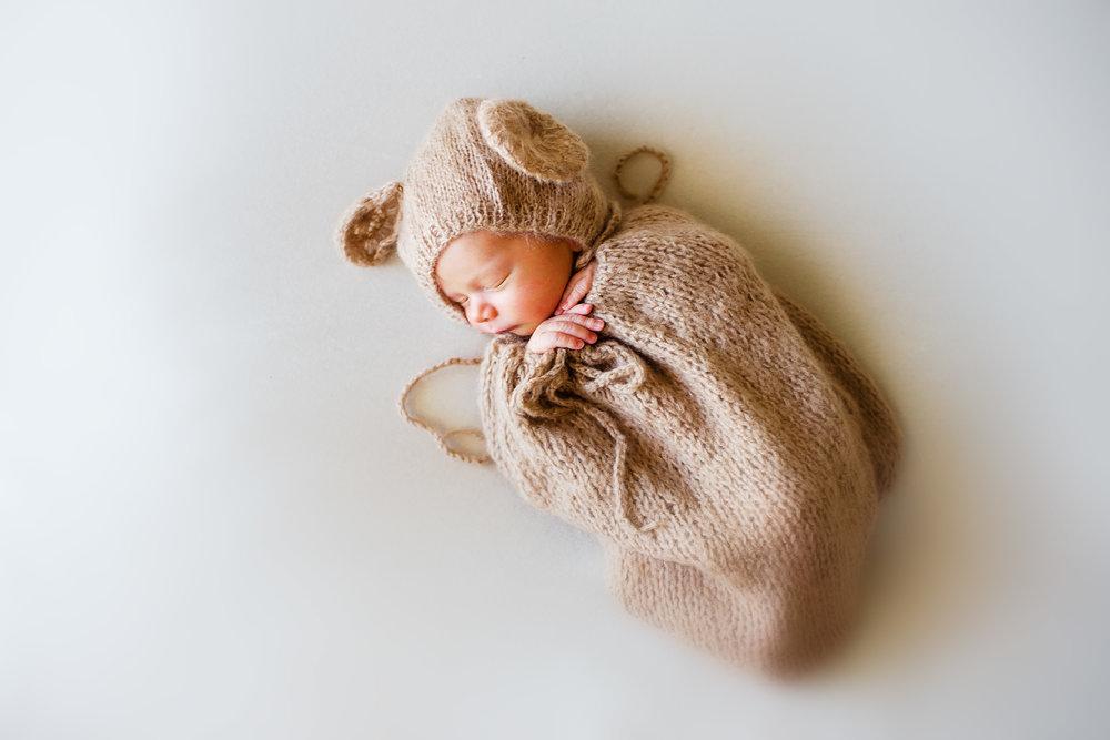 newborn baby in bear swaddle waynesville MO