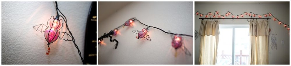 purple bat string lights for Halloween