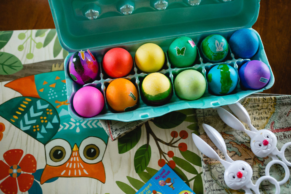 easter eggs pretty dyed bright colors