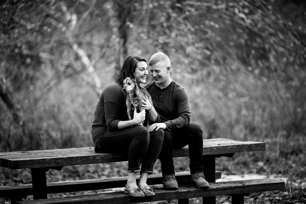 cute couple photography fort Leonard wood with dog