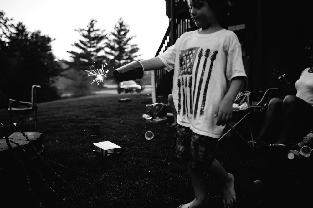 black and white photography of children on forth of july