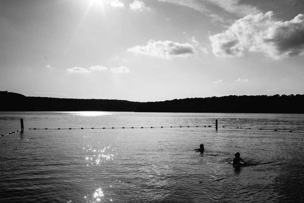 kids swimming in lake at lora mwr fort leonard wood photography
