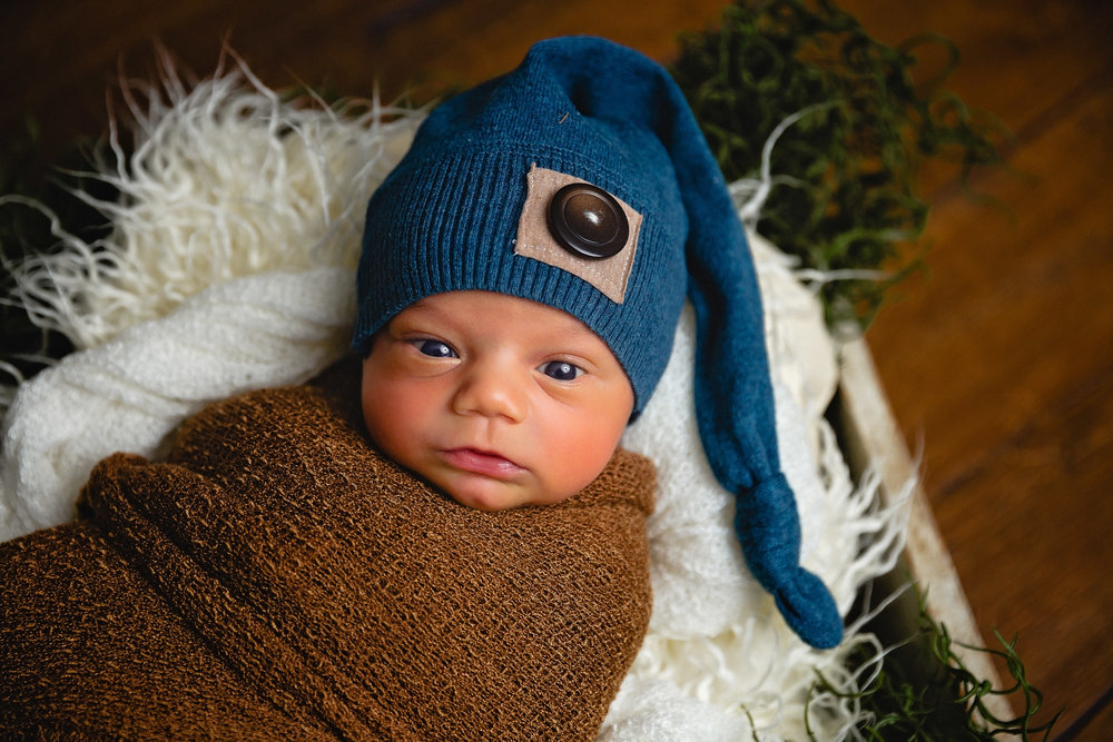 baby boy newborn photograph in drawer with fur and moss with blue hat waynesville photographer