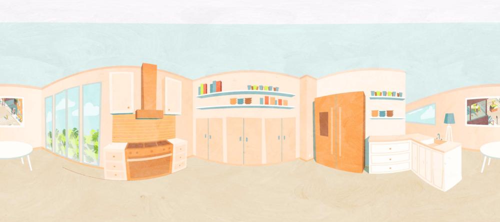 my final illustration of the kitchen scene