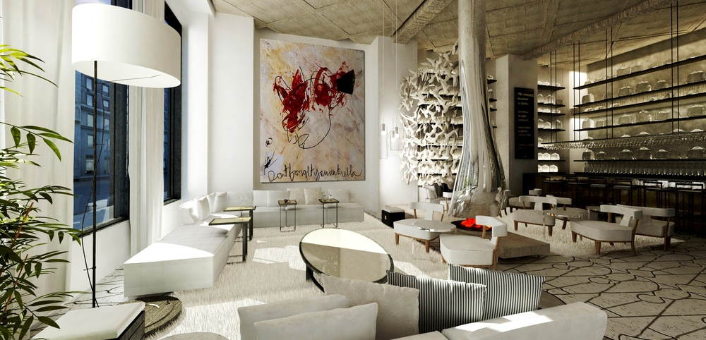 """My design directive for the fireplace was to create an unexpected and sculptural presence that would seamlessly compliment the pastel pallet and soft landscape throughout the lobby. From an artisanal plaster to a cast bronze, from a forged metal to a faceted glass, my intention was to invent an unforeseen space with a versatile yet complimentary installation of material applications. It was essential that there be subtle as well as pronounced contrasts between the wovens, textiles and textures. For instance, the light and dark tones of the reclaimed oak ceiling paralleled with the bold mirrored steel fireplace, reveals a sensitivity to color, light and shadow while exuding a stunning relationship between the scale and innovation of architectural details."" - Joe Ginsberg"