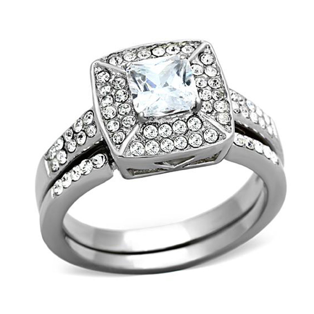 2 PIECE 316L Stainless Steel AAA Cubic Zirconia Halo Square