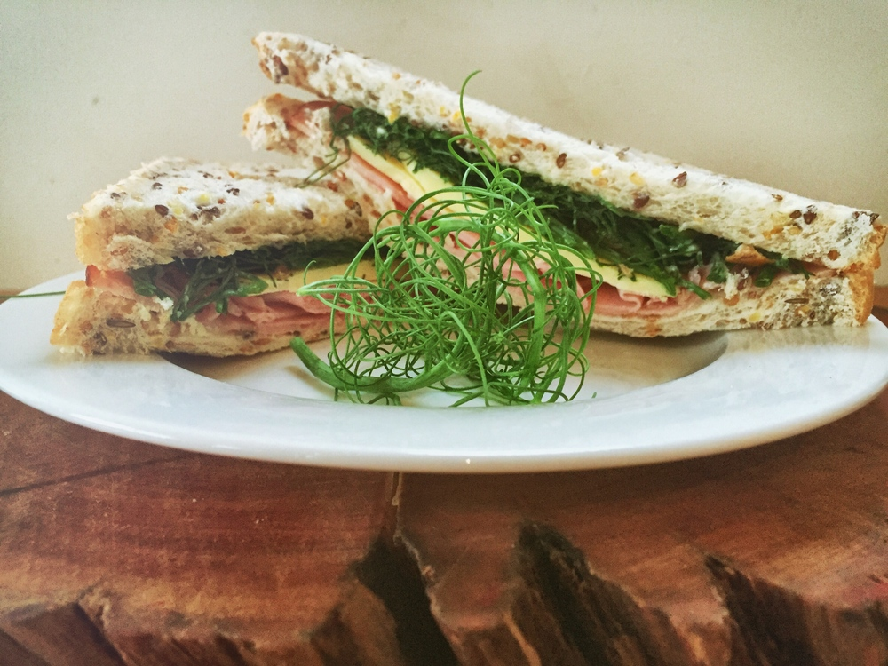 Sandwich #2: Ham & Cheese with Organic Pea Tendrils
