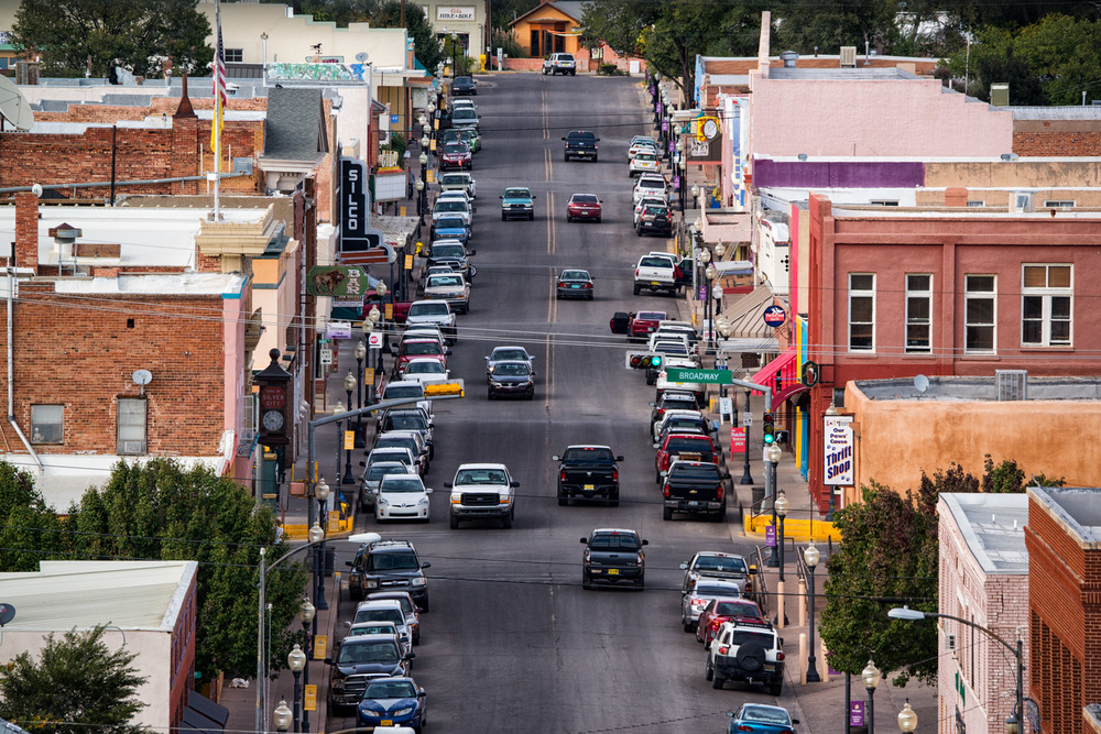 Downtown Silver City, New Mexico. At the end of the street (center top of the picture) you see Chef Connoley's Curious Kumquat restaurant.