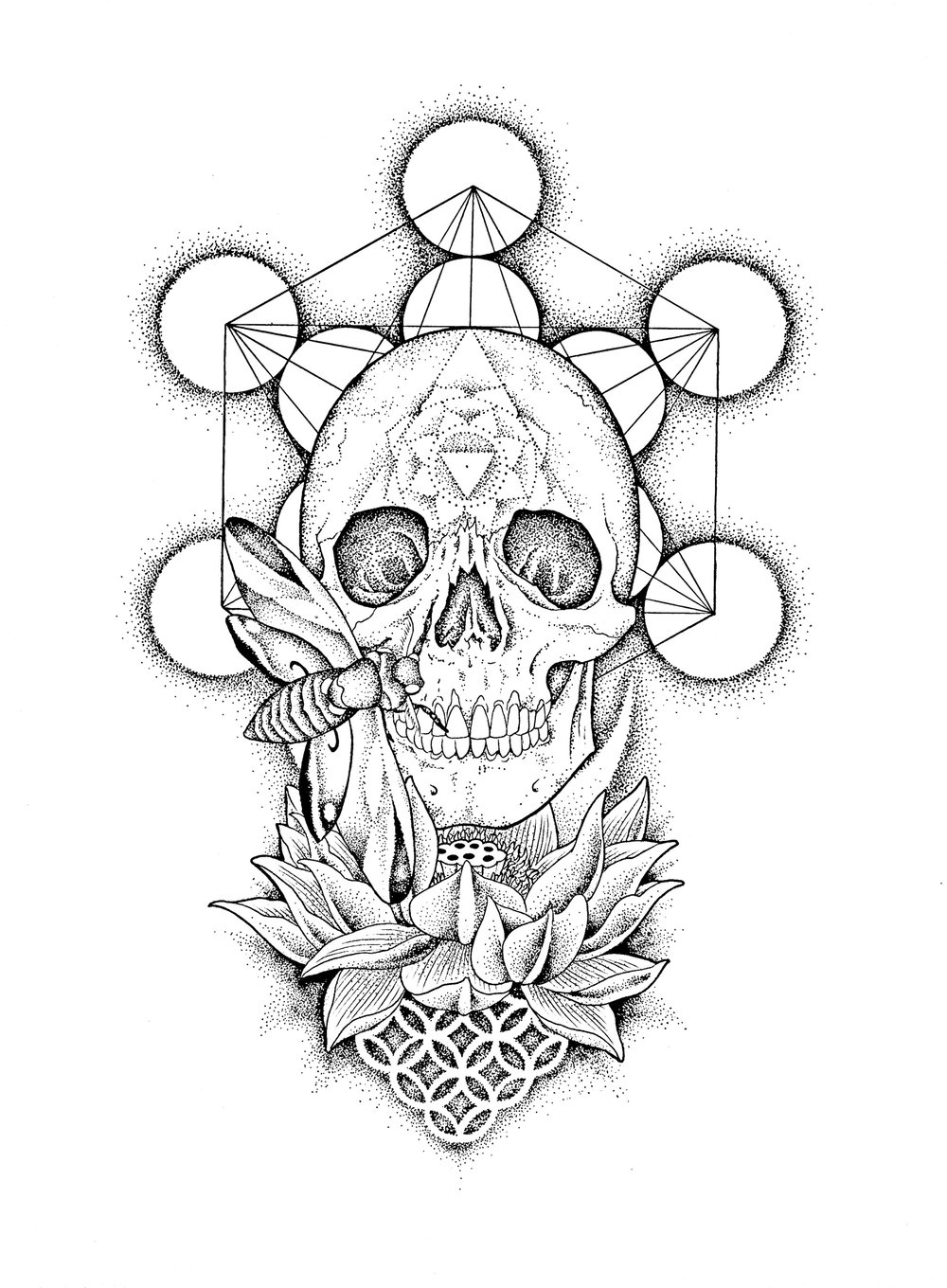 skull lotus flower of life Jackie Sabur.jpg