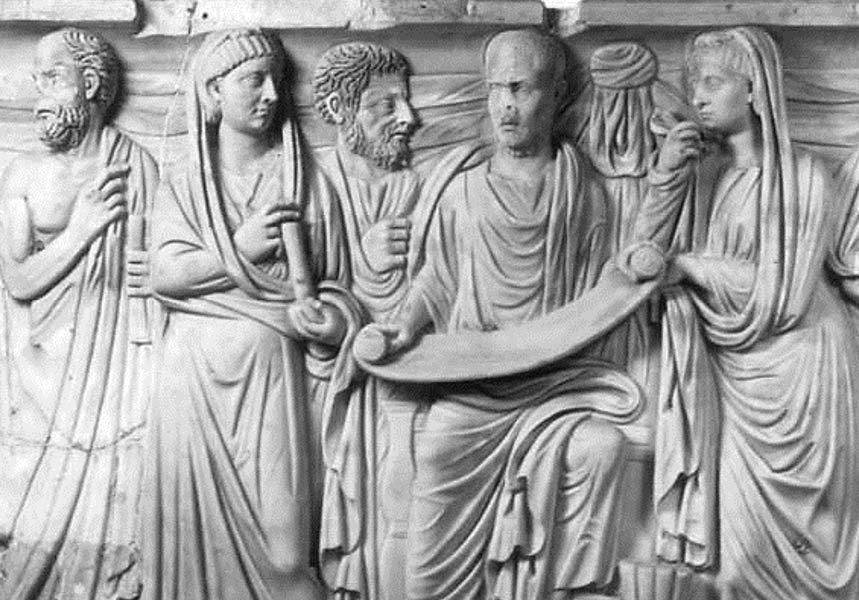 Roman sarcophagus with Plotinus and pupils, A.D. 270, Vatican