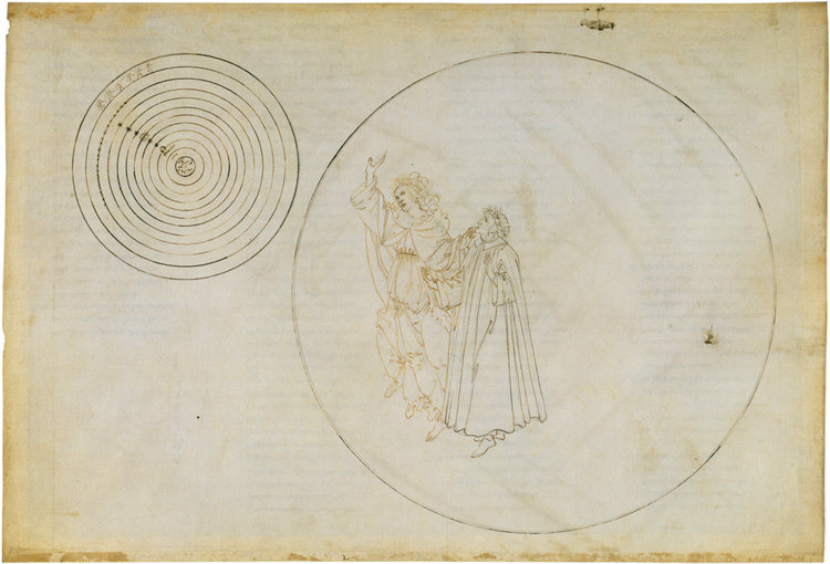 'Paradiso II'; Dante and Beatrice in the sphere of the moon, with Beatrice explaining the nature of the heavens;    illustration by Sandro Botticelli   , c. 1490