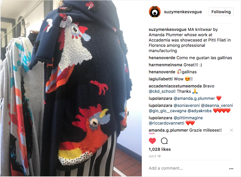 SUZY MENKES INSTAGRAM   MA knitwear by Amanda Plummer whose work at Accademia was showcased at Pitti Filati in Florence among professional manufacturing