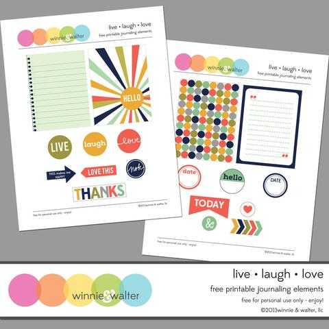 w&w - Live Laugh Love Printable Journaling Digital Elements