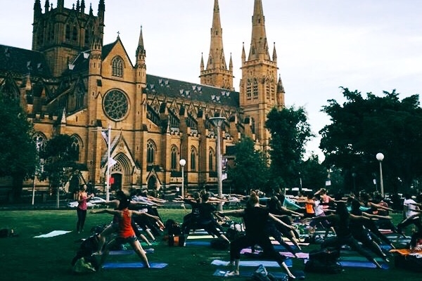 Yoga in Hyde Park for Sydney Festival