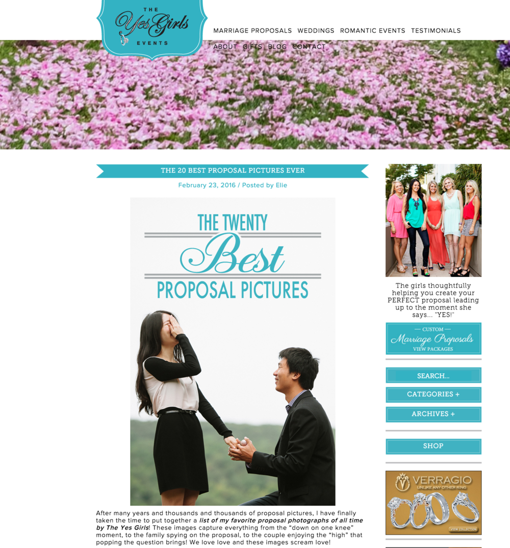 "J Hodges Photography as #6 on The Yes Girls ""Twenty Best Proposal Pictures"""