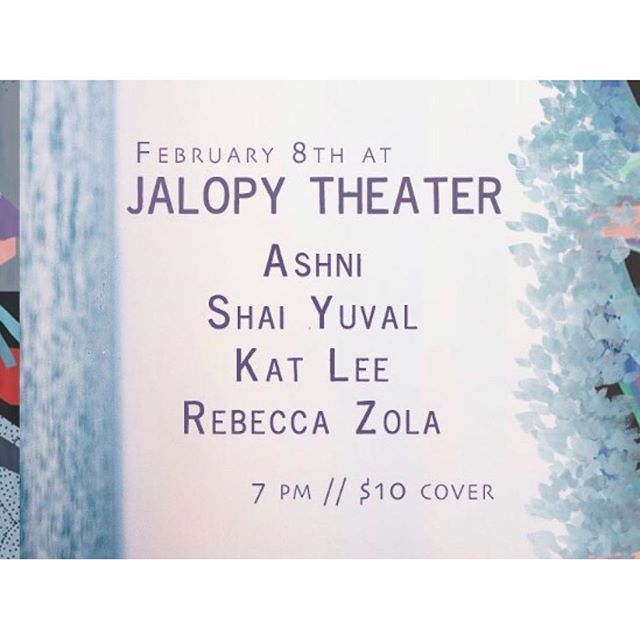 This lovely thing is happening on 2/8! @rebeccafelicezola is back in the US with a bang. She put this night of music together and some of my favorite people are gonna be there! I'll be playing some of my songs from my solo EP with @kalia.vandever @jemmusic_ and @drizzly_dale ! It starts at 8pm at @jalopybrooklyn I wanna see you there!!!