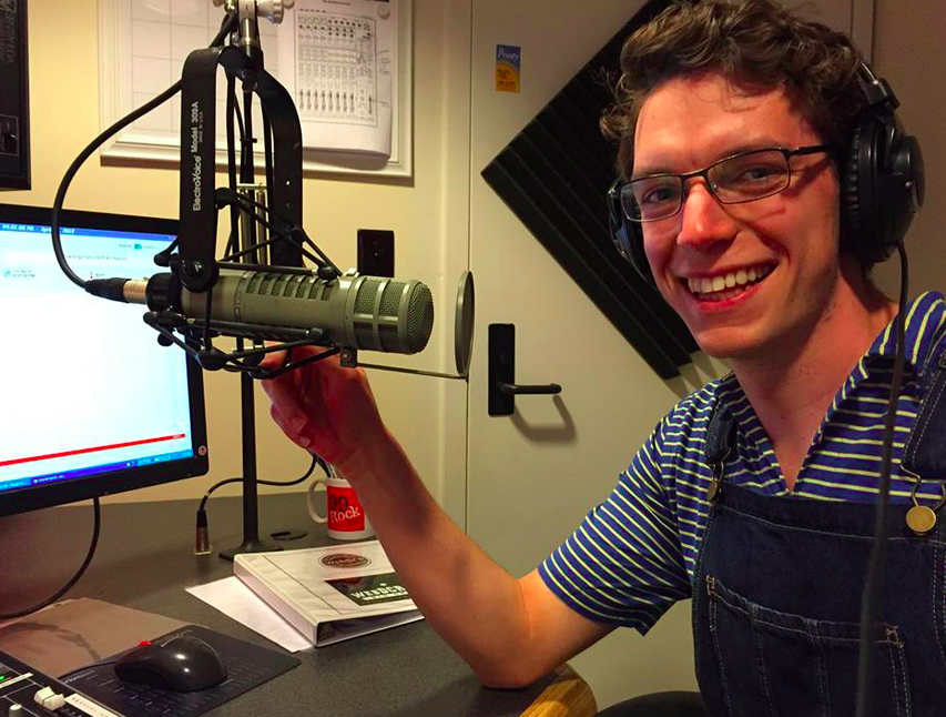 Producer Max Gibson '16 behind the mic in our studios in Robinson Hall.