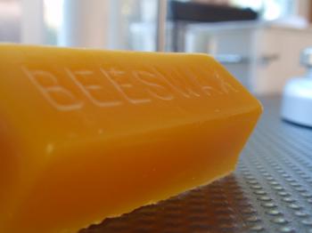 Molded beeswax.
