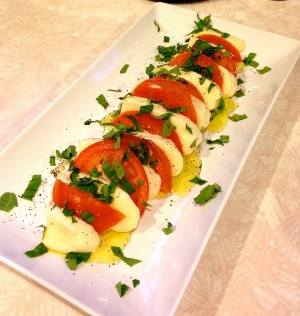 Caprese salad with handmade mozzarella