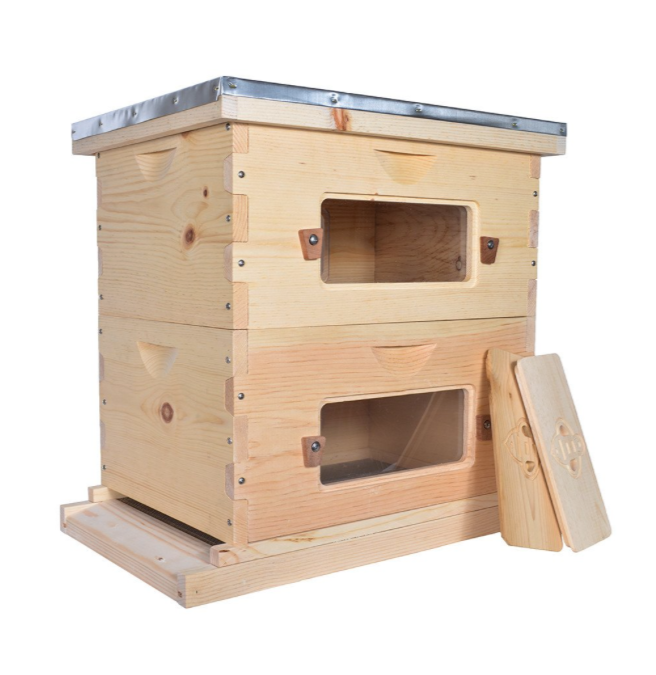 Langstroth Deep Hive Kit, 10 Frame size in Sugar Pine with Windows.