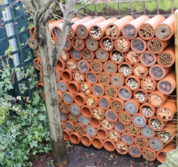 "An architectural bee house from Pinterest (click for source). Note that the clay cylinders are plenty deep for 6"" tubes."