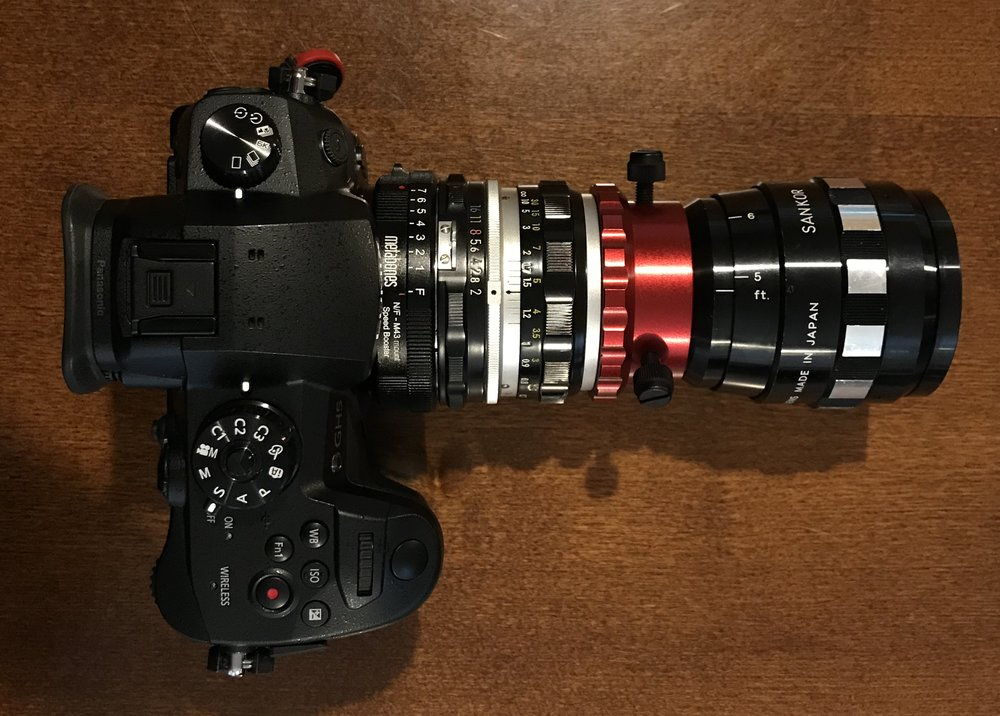 GH5 > Metabones 0.71x Speedbooster > Nikkor-H AI 50mm f/2 > Redstand Clamp >Sankor 16F