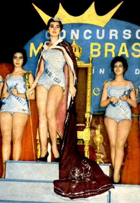Sônia Maria Campos (esq) foi a Miss Brasil Mundo; Adalgisa Colombo, vencedora do concurso, foi ao Miss Universe; Minas Gerais conquistou o terceiro lugar.