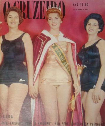 Dione Brito de Pernambuco (d) foi vice, o que lhe carimbou o passapore para o Miss World. Vera da Guanabara venceu e foi ao Miss Universo. Miss Bahia ficou em terceiro lugar (O Cruzeiro)