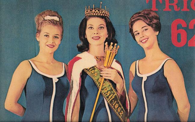 Top 3 de 1962:Vera Lúcia Saba (dir), foi a Miss Mundo Brasil 1962. Maria Olivia da Bahia (c) foi ao Miss Universo e Julieta de SP (esq) foi ao Miss Internacional.