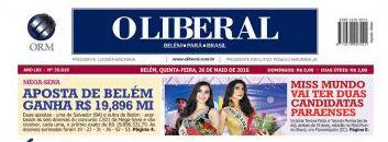 A coroação das mais belas paraenses de 2016 foi destaque na capa do jornal mais lido do estado, O LOIIBERAL.
