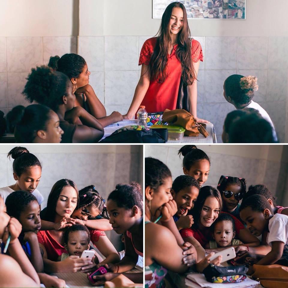 A Miss Bahia desenvolveu projeto em abrigo para crianças que foi filmado pelo ex-namorado. O vídeo chegou a ser publicado, mas após ela terminar o namoro, ele apagou o link to YouTube e se recusa a entregar o material para ela. Uma atitude lastimável que não apaga o belo trabalho realizado pela candidata baiana!