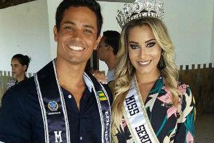 A nova Miss Sergipe CNB ao lado do Mister Sergipe 2017, Rafael Luís (divulgação)