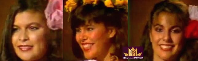 Simone de Fátima (PA), segunda colocada, Cátia Pedrosa (RJ), Miss Mundo Brasil 1983, Elaine Lopes (RS), também segunda colocada. Este foi o Top 3 de 1983.