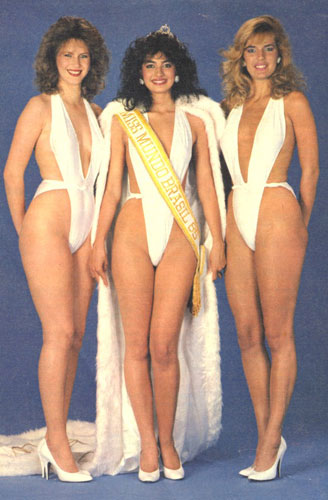 Top 3: Margareth (SC), segundo lugar, Leila (RS), Miss Mundo Brasil 1985, Adriana (RS), terceira colocada.