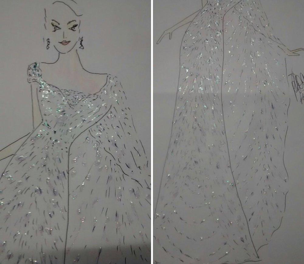 Desenho do vestido criado por Flávio Soares que a nossa representante usará na final do Miss Mundo.