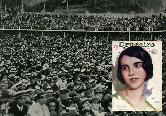 """Milhares de pessoas se aglomeraram no estádio das Laranjeiras e foram testemunhas da eleição da carioca Olga Bergamini de Sá como """"Miss Brasil"""" 1929 (O Cruzeiro)."""