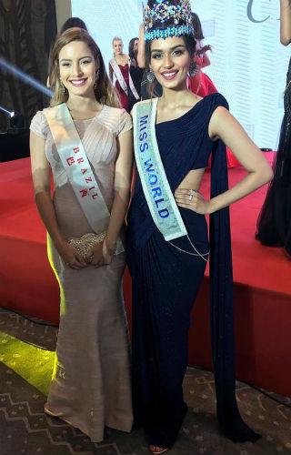 Jéssica Carvalho e a Miss Mundo Manushi Chhillar, quem em abril esteve no Brasil promovendo campanhas de combate à hanseníase em Belém e participando de evento da APAE de Brasília.