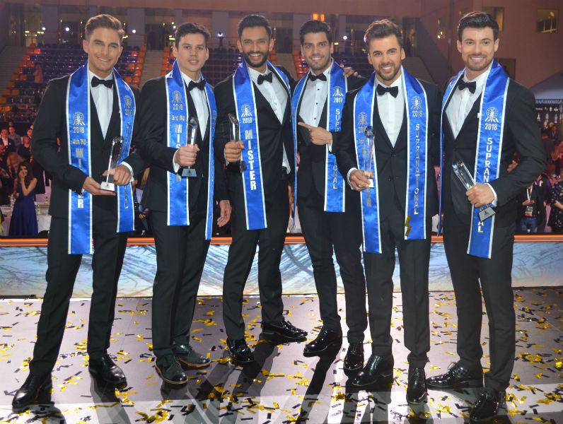 Finalistas do Mister Supranational 2018: Países Baixos (5), Tailândia (4), Índia (1), Gabriel Correa, vencedor de 2017, Polônia (2) e Brasil (3). Foto: Ricardo Carvalho.