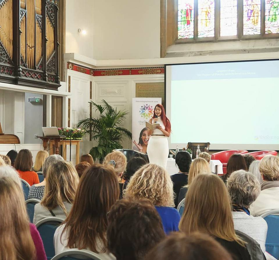 Performing at the Rising Women Network in Cambridge, March 2018. for IWD