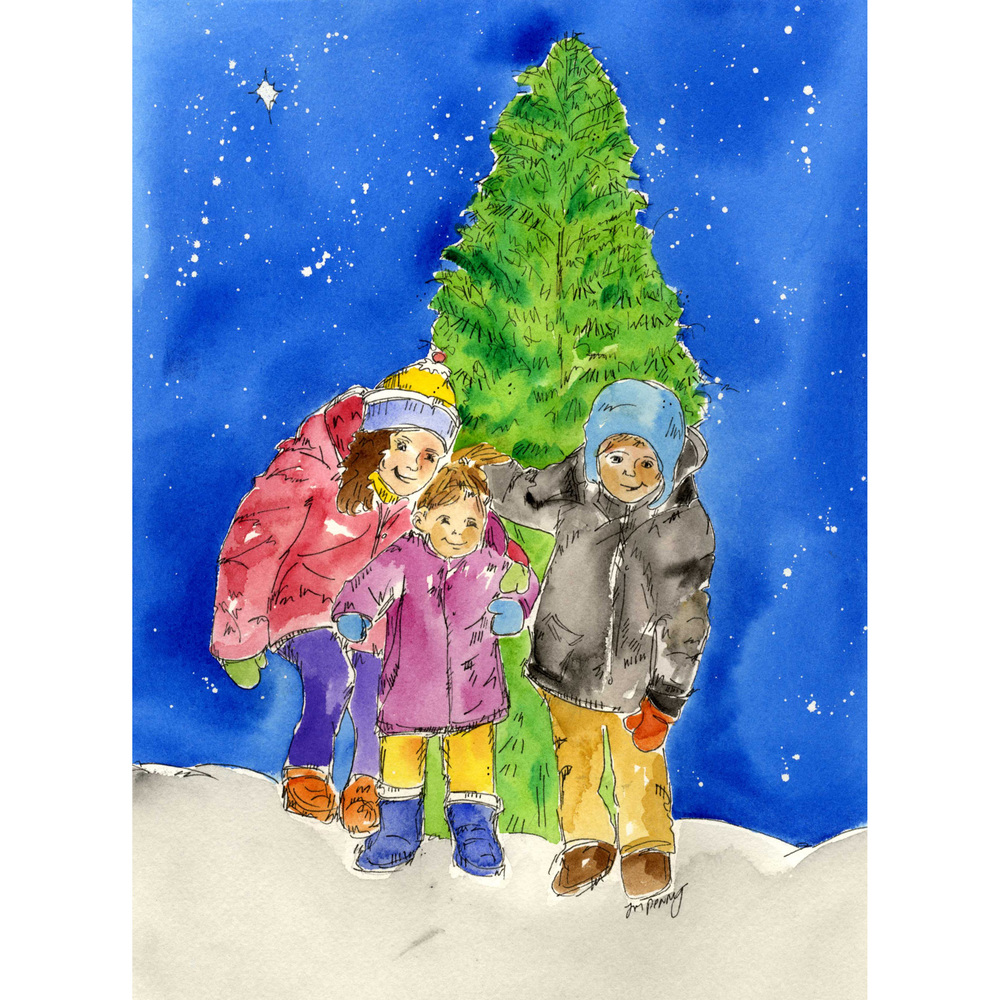 Wishing you Peace and Joy holiday card illustration, pen and watercolor, 2015.