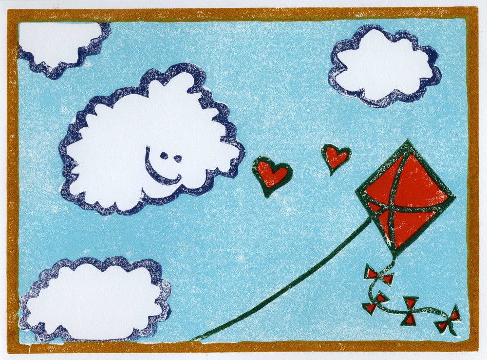 Cloud Loves Kite. Linocut monoprint, 2007.