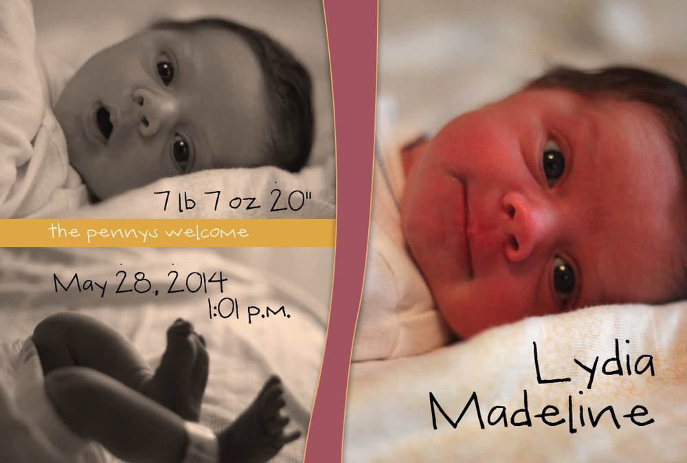 Birth announcement, Lydia Madeline, digital, 2014.
