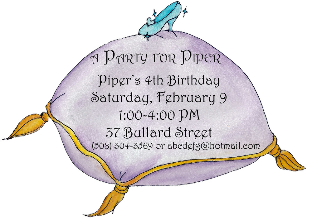 Birthday party invitation, watercolor and digital, 2013.