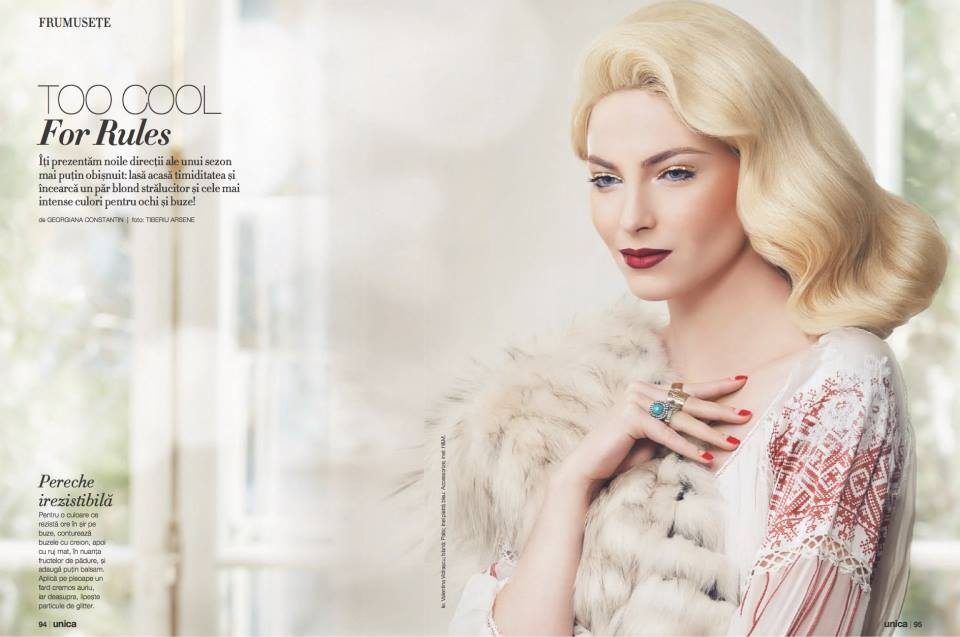 Foto: Tiberiu Arsene; Makeup: Ioana Stratulat; Hairstyle: Alina Miclos; Model: Arz Karin; Nails: Nastase Gina; Styling: Silvia Cristescu; Beauty Editor: Georgiana Constantin; Locatie: Inconique;