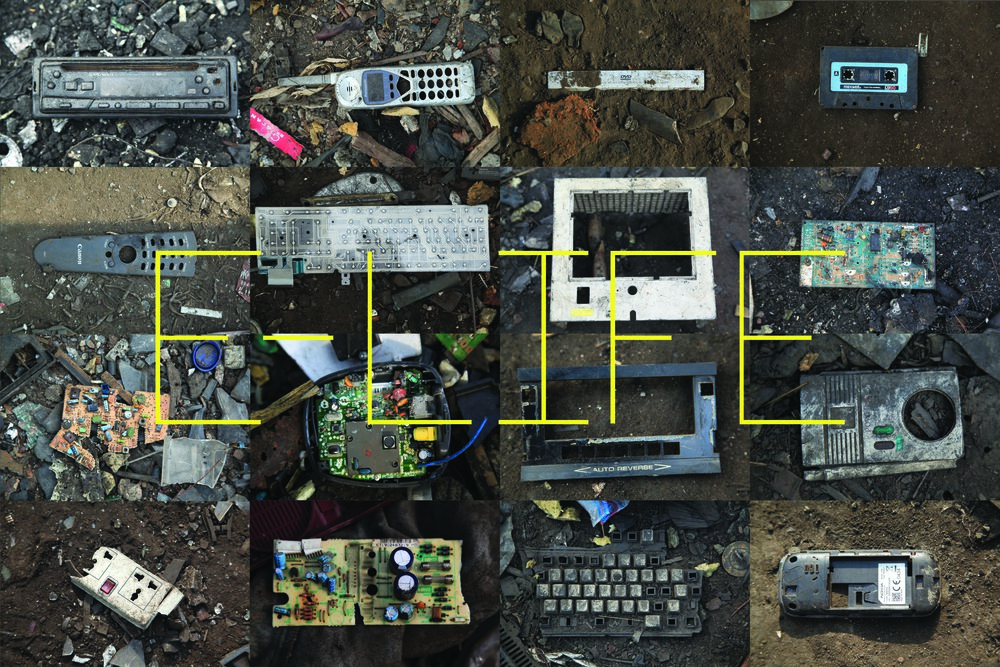 An early concept poster for E-LIFE, showing different individual pieces of broken electronics from Agbogbloshie, the scrap yard in Accra, Ghana.