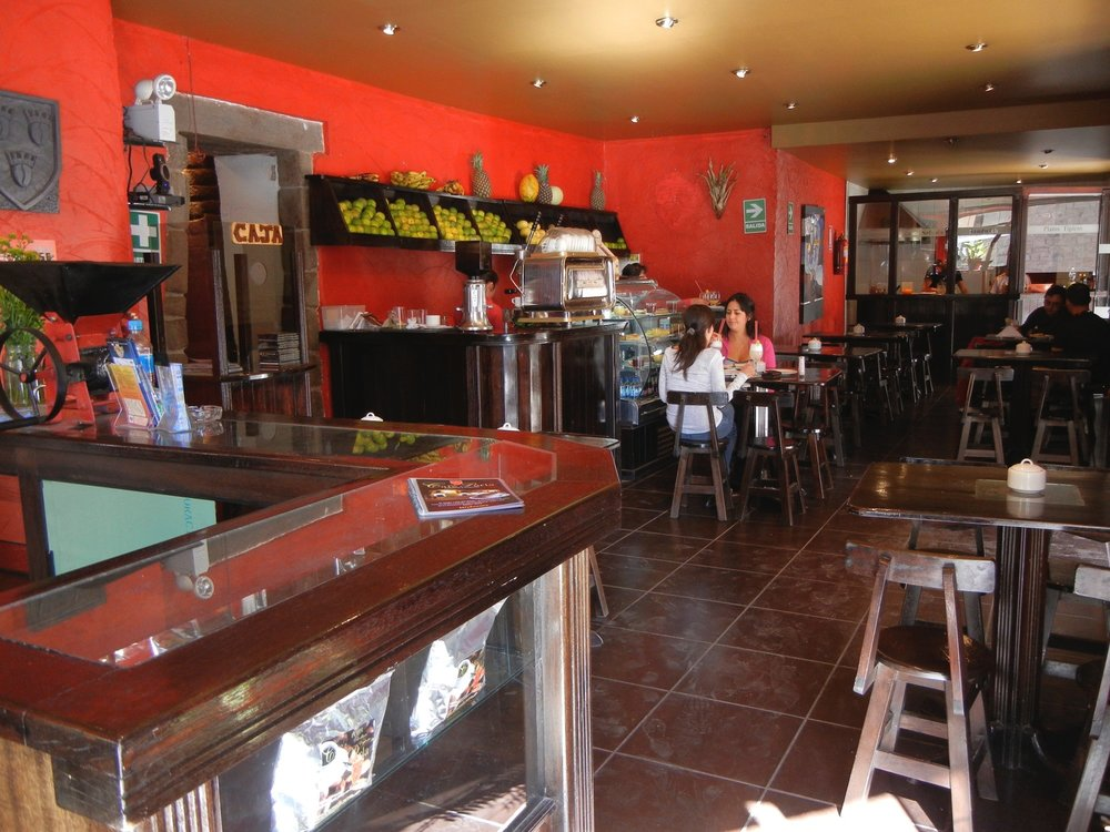 Cafe Perla shop on the Plaza de Armas