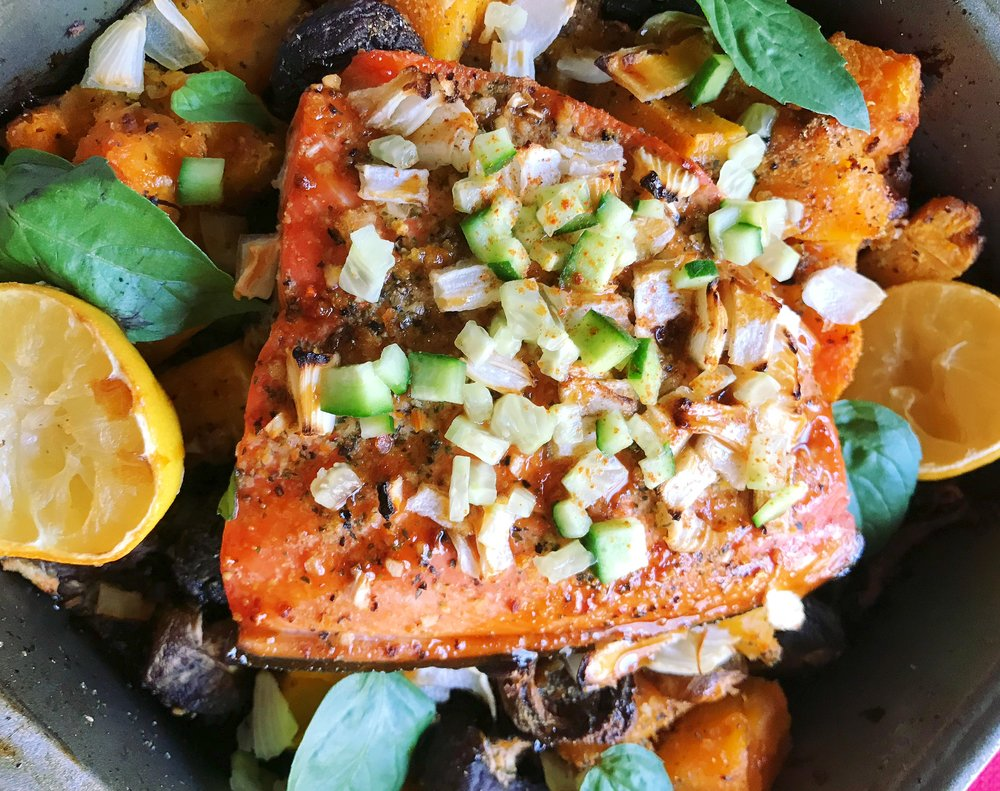 Baked Butternut Squash with Wild Salmon
