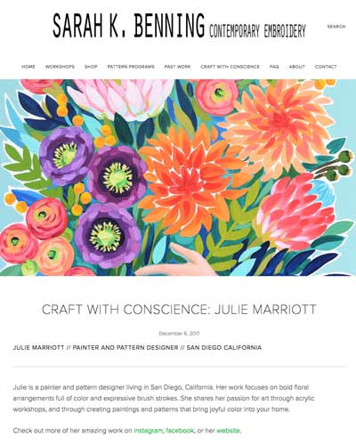 Sara K. Benning   Craft With Conscience  interview